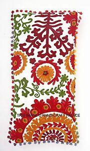 Décoratif Indien Suzani Coussin Housse Pom Vintage Broderie Couvre-Oreillers