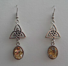 CELTIC KNOT DK SILVER PLATED TRI EARRINGS FACETED YELLOW GLASS CRYSTAL OVAL HOOK