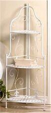 "White Basket Weave & ""Fleur De Lis� Corner Baker'S Rack 3 Shelf 46"" Unit * Nib"