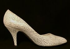 Vtg Prima Italy, Silver White Alligator Look Leather High Heels Shoes Pumps, 7.5