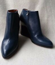 New Auth $1100 Celine 38.5 Navy Leather Zip Wedge Ankle boots Booties Shoes Heel