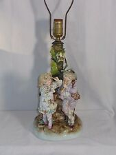 Antique German Conta Boehme Large Boy & Girl at Wall Figurine Lamp