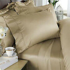 King Size Beige Solid 4 Piece Sheet Set 1000 Thread Count 100% Egyptian Cotton
