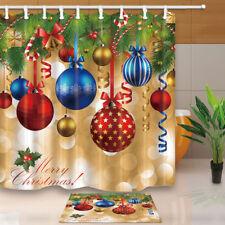 Christmas Baubles Ball and Xmas Tree Shower Curtain Bathroom Fabric & 12hooks