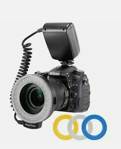 LED Ring Flash Bundle with LCD Display Power Control, Adapter R, Neewer 48 Macro