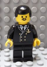 LEGO Minifig Cruise SHIP CAPTAIN Officer Sailor Black Uniform Black Hair