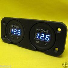 Volt Meter LED 12V 24V DC Dual Battery BLUE Flush Panel Voltmeter Display 4x4 Bl