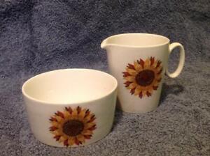 Ridgway Ironstone Staffordshire pottery Sunburst Milk Jug (A/F) with Sugar Bowl