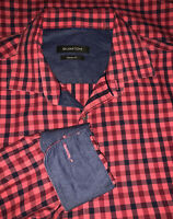 Bugatchi Sz MEDIUM Shirt L/S Pink Red Blue Plaid Check Flip Cuff Classic Fit EUC