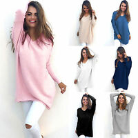 Women Jumper Tops Long Sleeve V Neck Loose Tunic Pullover Sweater Blouse Dress Z