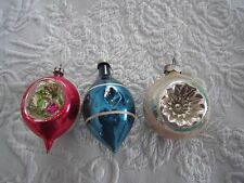 3 HP MERCURY GLASS CHRISTMAS ORNAMENTS Double Indented Teardrop & Round