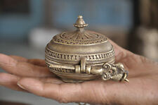 1930's Old Line Engraved South Indian Brass Snuff/Tobacco Box,Rich Patina