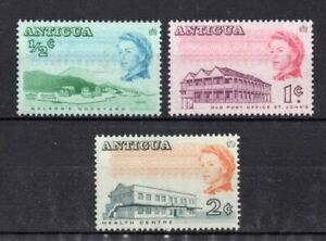 set of 3 mint QEII stamps from antigua. 1966