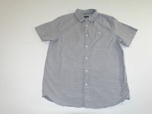 The North Face Men's Button Front Shirt Large Short Sleeves Gray 100% Cotton TNF
