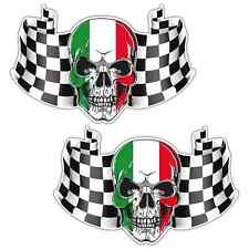 ITALY CHEQUERED FLAG SKULL LAMINATED STICKERS x2 170x110mm Car Motorbike Vespa