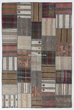 Modern MultiColor PATCHWORK RUG, HandMade from OVERDYED Vintage Turkish Carpets