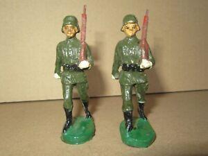451P Rare Elastolin Soft Germany H 7 CM Bundle 2 Soldiers German WWII Repaint