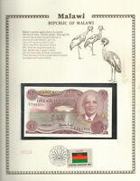 Malawi Banknote 1986 1 Kwacha P 19a UNC with UN FDI FLAG STAMP Prefix G/1*