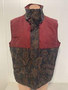 Burton Snowboard Snowboarding Vest Mens L Large Gray Marron Aztec Print