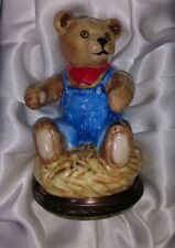Halcyon Days Porcelain Bonbonniere Teddy Bear in Overalls animal original box