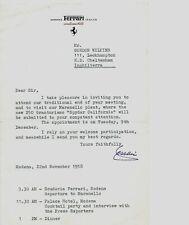1958 Ferrari Original Letter & Meeting Invitation Card 'Signed' by Enzo Ferrari