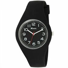 Men's Unisex Watch Black Smooth Comfort Fit Silicone Strap, Clear Numbers & Dial