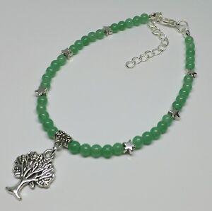 Green Jade 4mm Gemstone Beads Tree of Life Charm Anklet Ankle Bracelet Boho