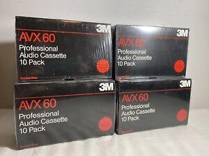 (4) 3M AVX 60 Professional Audio Cassette 10 Packs Lot of 4 NIB Sealed