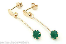 9ct Gold Green Agate round drop Earrings Made in UK Gift Boxed