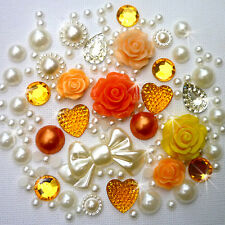 14g Oranges+Lemons Pearls/Roses Flatback Kawaii Cabochons Decoden Crafts Kitsch