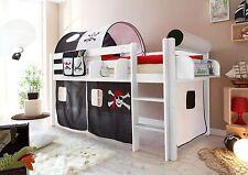Lit mezzanine MALTE pin teinté blanc tissus Pirate Noir-Blanc