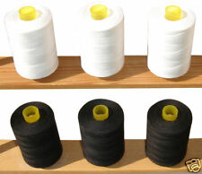 100% Pure Cotton General Sewing Thread *6 Black & White Spools*