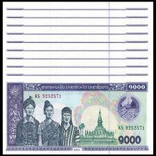 Lot 10 PCS, Laos 1000 Kip, 2003, P-32, UNC