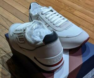 "$395 Mens Authentic Bally ""Goody"" Leather/White Sneakers White/Red US 11"