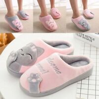 House Shoes Cat Plush Winter Slippers Indoor Warm  Womens Soft Anti-Slip Cute