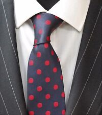 Tie Neck tie with Handkerchief Dark Blue With Red Spot