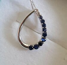 9CT White Gold Sapphire Pave Pendant with Necklace
