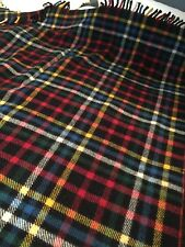 "VINTAGE 'GLENCAIRN' BLACK RED YELLOW CHECK PLAID  60""x 80""100% WOOL BLANKET"