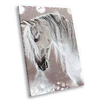 Grey Watercolour Horse  Portrait Animal Canvas Framed Art Large Picture