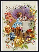 Big CHINESE TEA Thea Nectar Trade Card 1880's Coffee VICTORIAN GIRL & KITTEN Cat