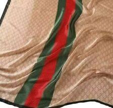 Silk Scarf Lady Luxury Fashion Printed Stripes 180*90 Rectangular Red Green