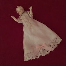 DOLLHOUSE MINIATURE BISQUE BABY DOLL IN CHRISTENING GOWN  #19871