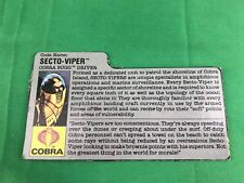 GI JOE COBRA BUGG DRIVER SECTO-VIPER FILE CARD Vintage Action Figure 1988