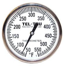 """Tel-Tru BQ225 BBQ Smoker Thermometer 2"""" Dial w/ 2.5"""" Stem"""