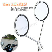 8mm Motorcycle Rearview Round Mirror For Honda C90 CL90 CT90 ST90 CM185