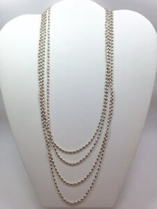 Vintage Milor Italy Multi Strand Bead Necklace sterling silver 90 Inch Sterling
