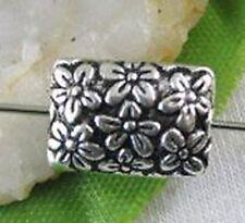 15pcs Tibetan Silver Floral Oblong Spacers Beads T8679