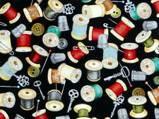 SPOOLS THREAD FABRIC SEWING NOTIONS THIMBLE PINS COTTON SEAMLESS QT  BY THE YARD