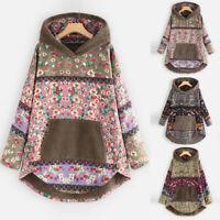 Women Fleece Patchwork Floral Print Long Sleeve Pockets Plus Size Hoodie Tops AU