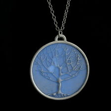 ED33 Glow In The Dark Tree Of Life Blue Silver Medallion Charm Necklace